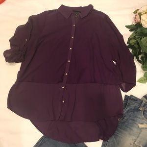 🌷Lane Bryant Purple Sheer Double Layered Top🌷